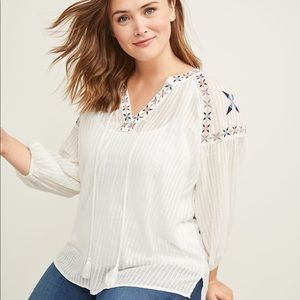 Embroidered Peasant Top size 14/16